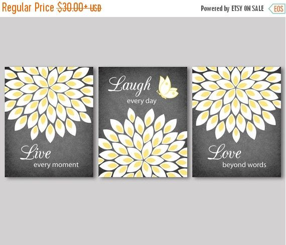 ON SALE Live Laugh Love quote, flowers, flower burst, white, yellow and grey…