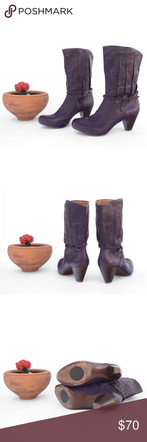 """Frye Lisa 8L Pleated Purple Boots Frye Lisa 8L Pleated Purple Boots  Women's Size 7 1/2 M Measurements: Insole - 9 3/4"""" Outsole - 10"""" Height - 10"""" Heel - 2"""" Ball of foot - 3 1/8"""" Circumference - 13"""" Frye Shoes Heeled Boots"""