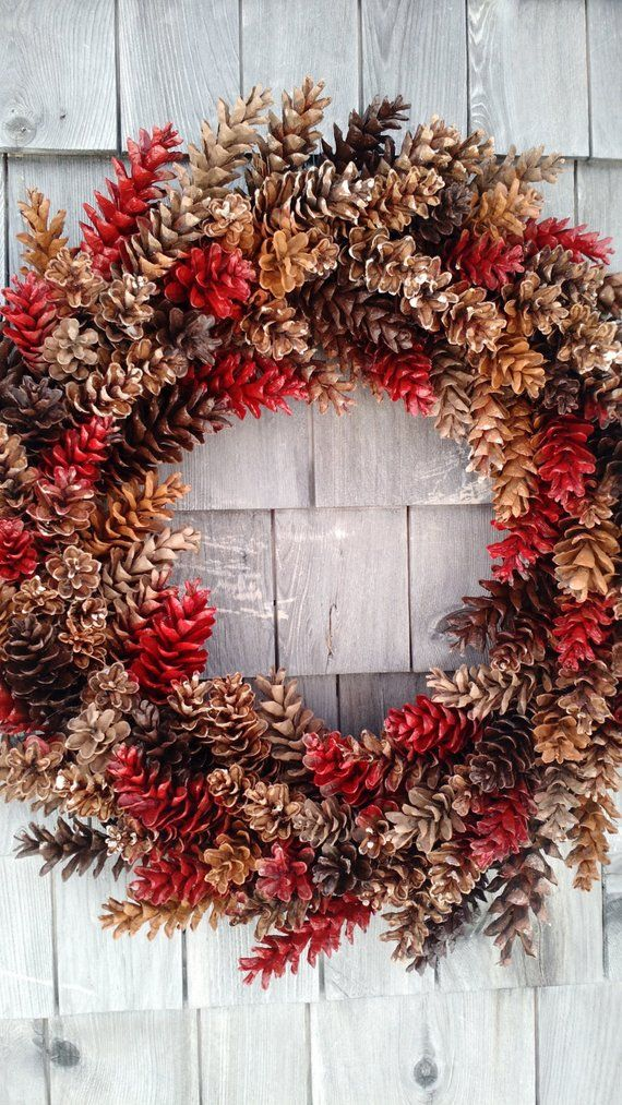 Large Rustic Pinecone Wreath Products Pinterest Wreaths Pine