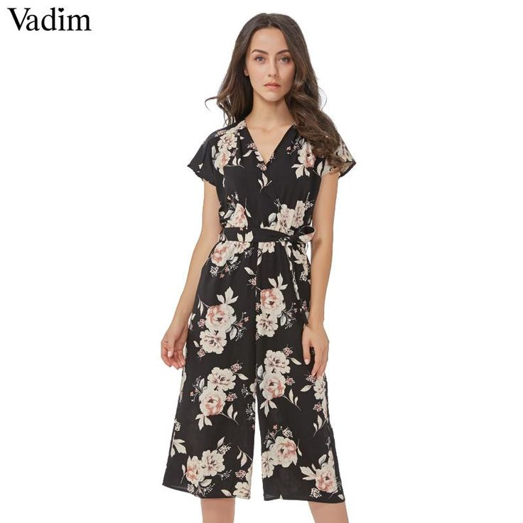 Women vintage V n...  Check it out here : http://clovats.com/products/women-vintage-v-neck-floral-jumpsuits-wide-leg-pants-sashes-pleated-elastic-waist-rompers-summer-casual-playsuits-kz926?utm_campaign=social_autopilot&utm_source=pin&utm_medium=pin  #Shopping #Clothing #Footwear #Accessories #Clovats
