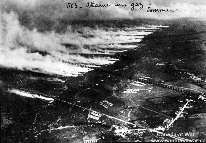 Gas Attack on the Somme - Aerial photograph of a gas attack on the Somme battlefield using metal canisters of liquid gas. When the canisters were opened in a stiff, favourable wind, the liquid cooled into a gas and blew outwards and over the enemy lines. Strong concentrations of gas could overwhelm respirators, but a change in wind direction could also reverse the cloud, which then gassed one's own troops. CWM 19700140-077