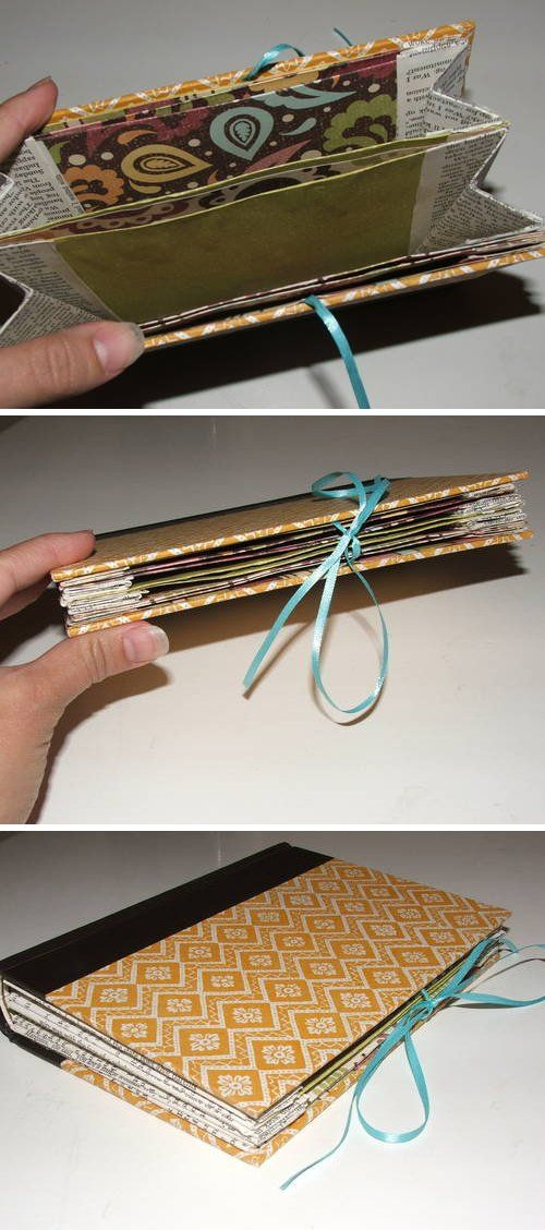 An old Readers Digest book turned into an expandable file for organizing your purse (receipts, business cards, coupons, etc.)