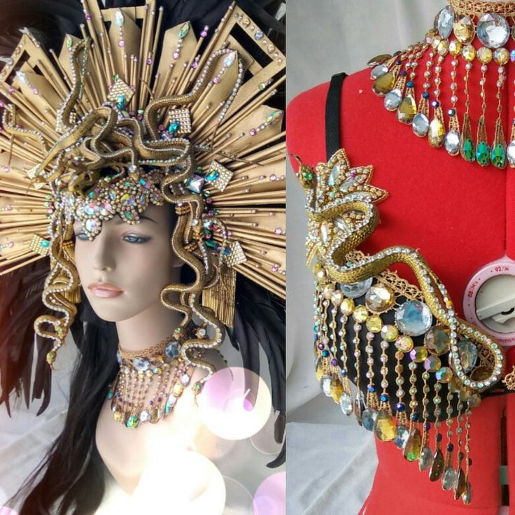 #Medusa #snakes #Inca #Queen #headdress #headpiece #Halloween #cosplay #dubstep #dance #club #music #goddess #princess #gay #diamonds #rhinestones Pamzylove.com