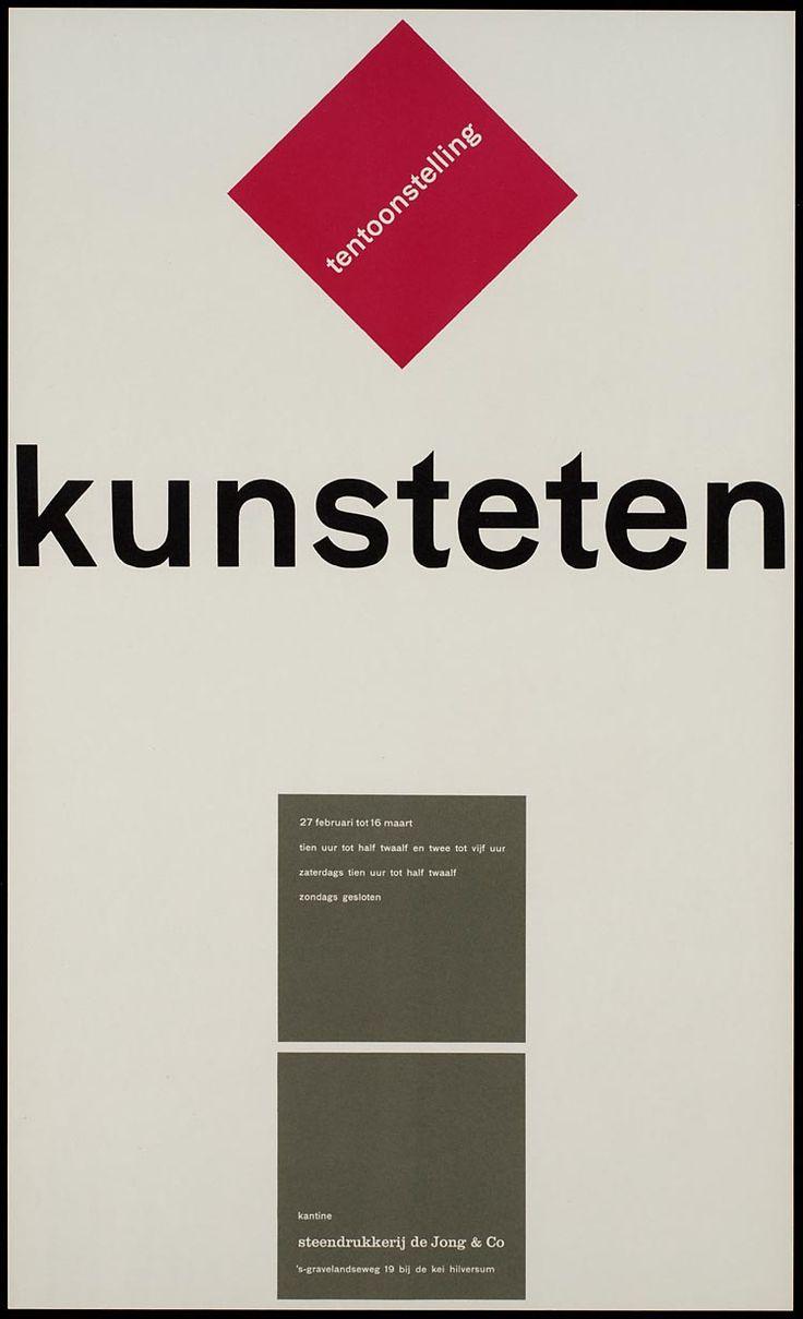 Pieter Brattinga, kantine steendrukkerij de Jong & Co Hilversum 27 februari tot 16 maart kunsteten, 1960