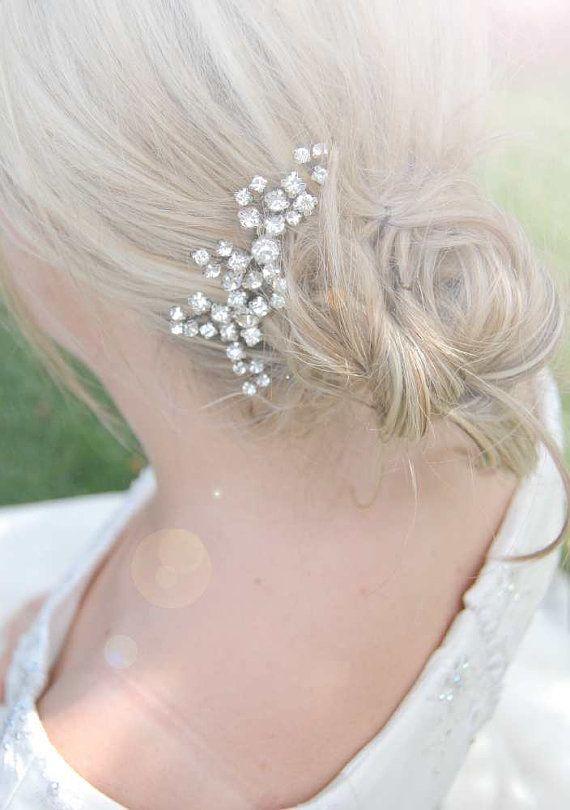 Bridal crystal headpiece, jeweled bridal comb, rhinestone haircomb - hair brooch - EMMA