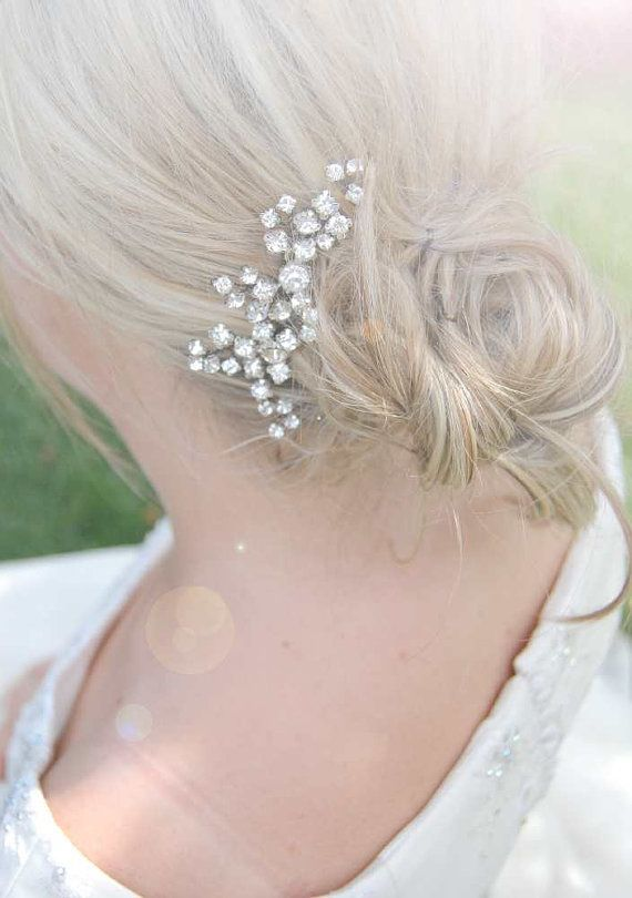 Jeweled hair comb crystal headpiece wedding hair jewelry by Elibre, $90.00