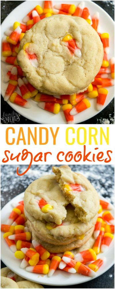 Candy Corn Sugar Cookie Recipe -- Family Fresh Meals - #halloween #cookies