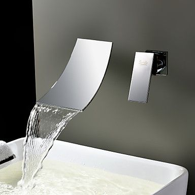 Sprinkle® by Lightinthebox - Waterfall Widespread Contemporary Bathroom Sink Faucet (Chrome Finish) – CAD $ 80.39