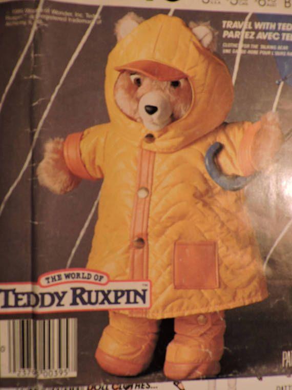 Teddy Ruxpin Doll Rainwear Outfit Rain Gear Vintage