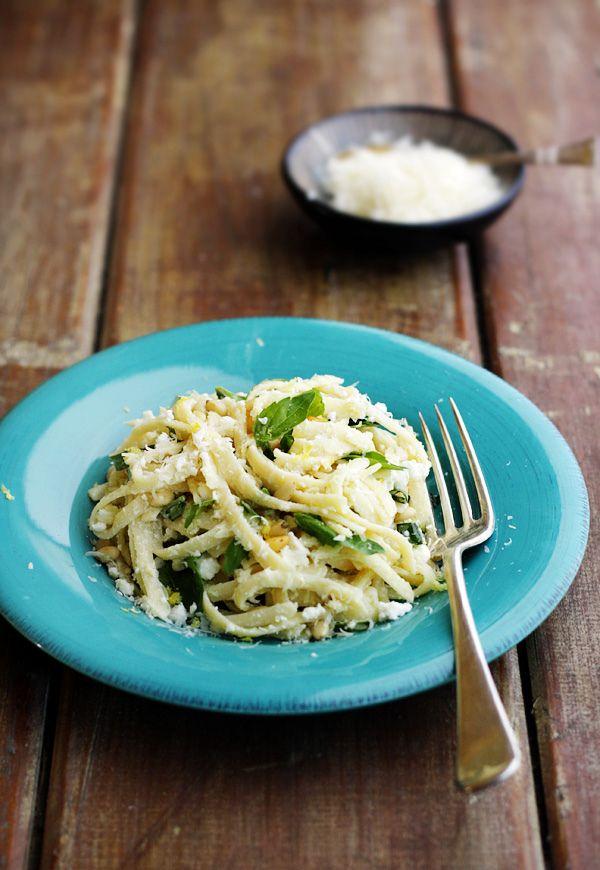 Linguine with lemon, feta and parmesan: Linguine Recipe, Quick Meals, Zucchini, Food, Parmesan, Made, Basil, Summer Linguine, Lemon