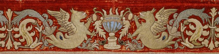 Title: Border Embroidered with a Grotesque Motif Place of creation: Italy Date: 16th century Material: velvet (ground), silk and gold threads Technique: embroidery in raised laid, laid and couched stitches and pattened golden technique Inventory Number: Т-8886
