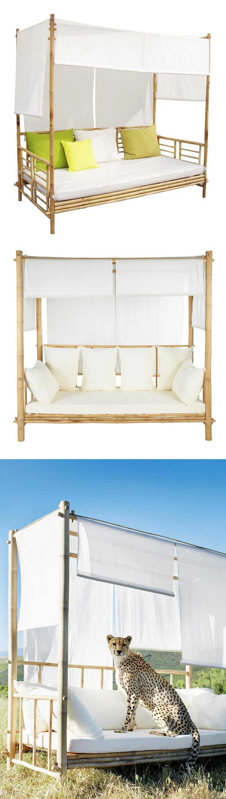 Outdoor canopy bamboo daybed* // (Note: *Cheetah not included) #furniture_design