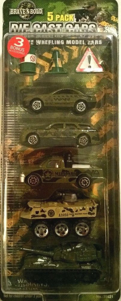 Military Die Cast 5 pack 3 Accessories Brave N Bold Green Ages 3+ New #BraveNBold