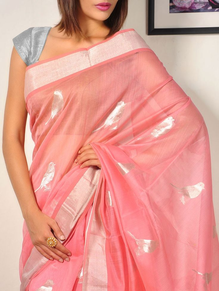 Peach Cotton-Silk-Chanderi Saree - Sparrows