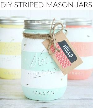 Give any teacher this cute set of Back to School Striped Mason Jars full of cute classroom supplies, it will be a huge hit!