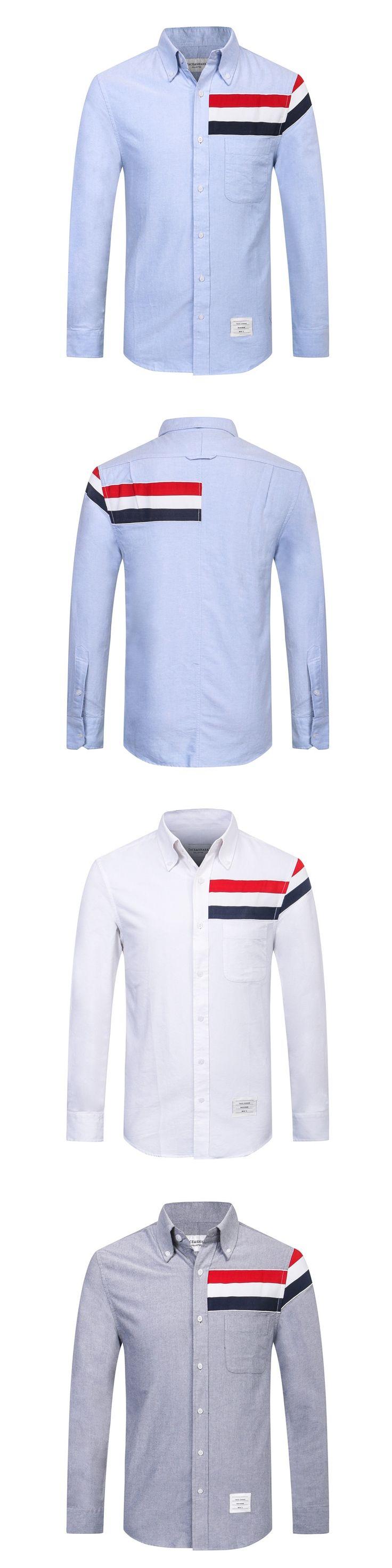 TB171 Spring Autumn Men's Shirt Long Sleeve Brand Tace & Shark Dress Shirt Men Slim Fit Cotton Smart Casual Formal Male Shirt