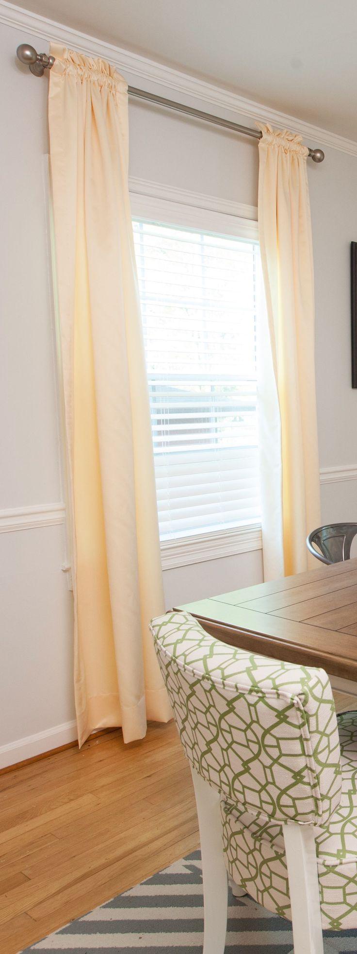"Dining Room | Blinds - Faux Wood.2"" Slat Milk White – 85058, Curtains - Mercedes Iridium 90027 | BUDGET BLINDS"