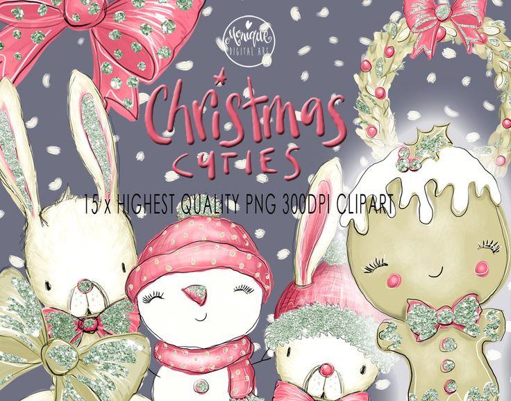 Christmas Bunny clipart,Glitter,Gingerbread man,Snowman,Christmas Clipart,Watercolor Illustration,Cute Planner Clipart,Digital Clipart by MoniqueDigitalArt on Etsy