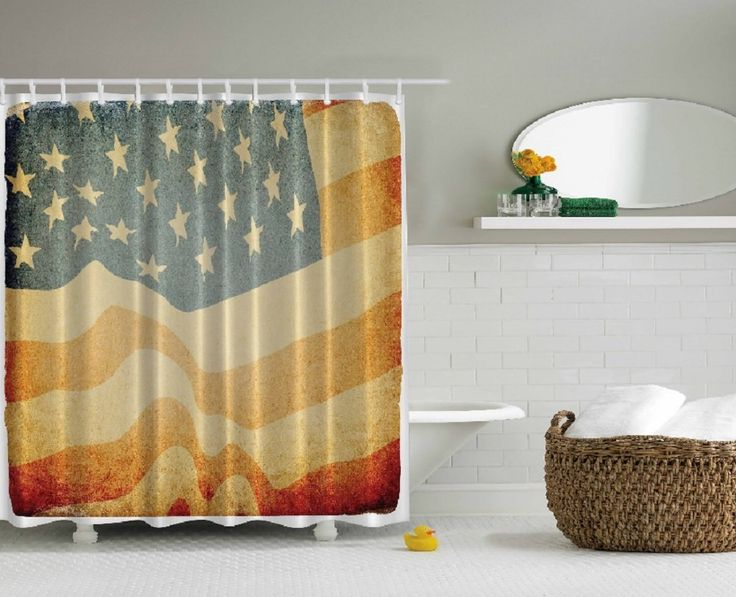 Delightful Amazon.com   American Flag Faded Old Glory Design Digital Graphic Photo  Print Shower Curtain