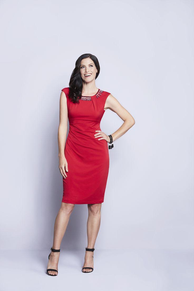 Petite   Jewel Neck Winter Red Shift Dress #CleoFashion