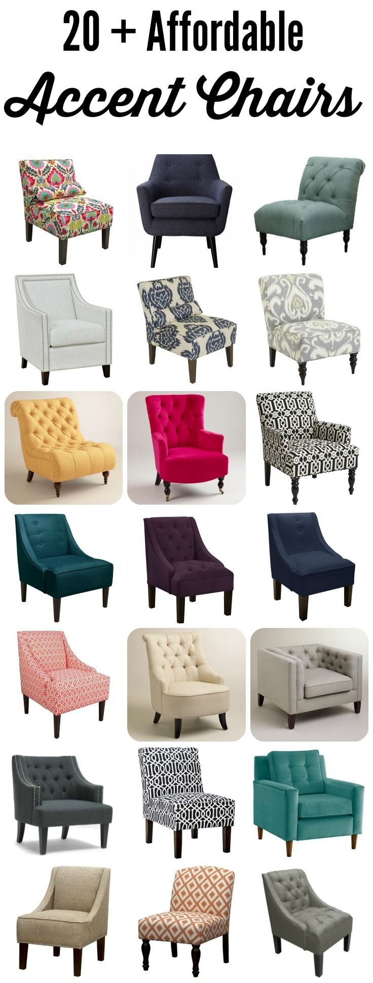 OMG, this list of more than 20 AFFORDABLE accent chairs is amazing! I can finally start making plans for my room makeover now that I can afford it!