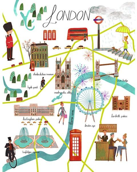 london map illustrated by josie portillo �vintage