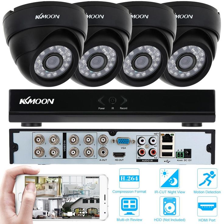 KKMOON 8CH H.264 960H/D1 DVR Security System with 4pcs 800TVL IR-CUT Night View CCTV Camera for Home Surveillance System Kit