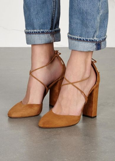 Aquazurra brown suede pumps Block heel measures approximately 4 inches/ 100mm Pointed toe Tie-fastening ankle strap Come with a dust bag
