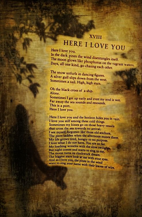 Pablo Neruda<>Love Poem XVIII<>Here I Love You