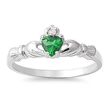 Handcast Sterling Silver Irish Claddagh Ring w/Green CZ + Clear CZ | museumreplicajewelry - Jewelry on ArtFire