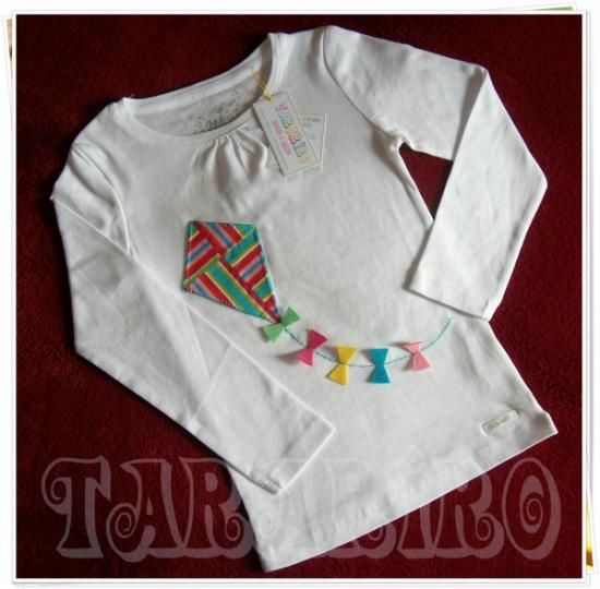 camiseta cometa de colores  camiseta de algodón,tela 100% algodon,fieltro patchwork,bordado