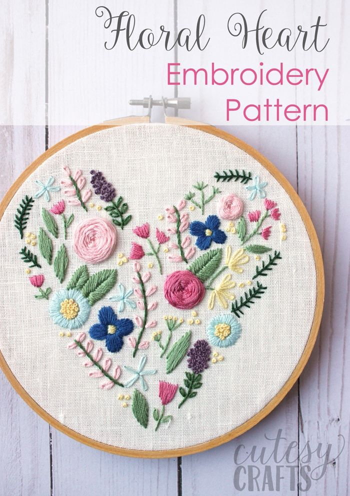 Heart Flower Embroidery Design Cutesy Crafts Blog