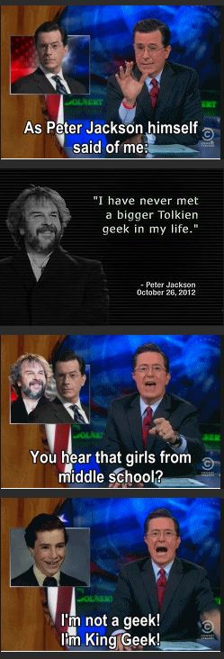 Stephen Colbert: Lord of the Tolkienites. One does not simply mess with Stephen Colbert.