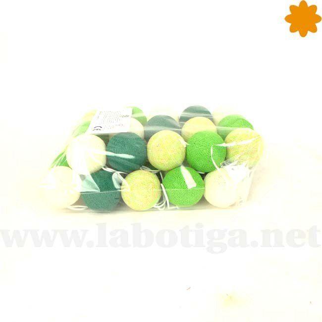 Decorativa guirnalda de luces verdes bolas de algodón - Borneo