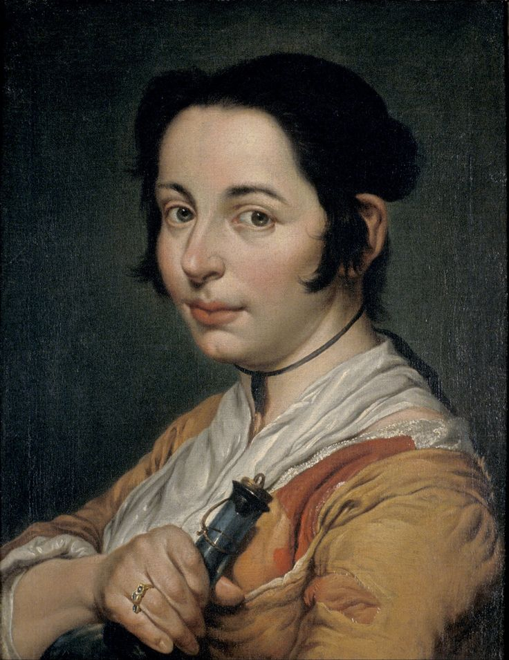 Young Peasant Woman Holding a Wine Flask by Giacomo Ceruti 1738