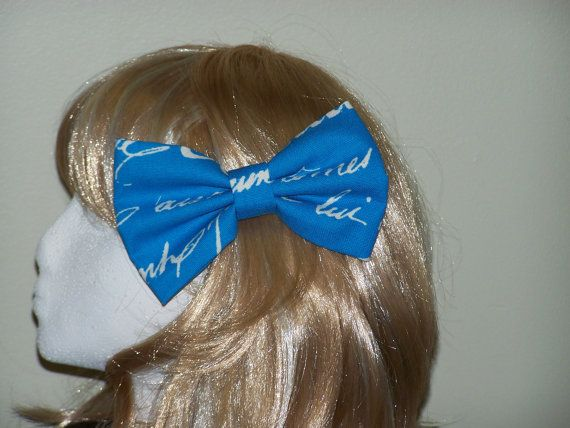 Large Fabric Hair Bow Blue and White Writing by HairBowAplenty