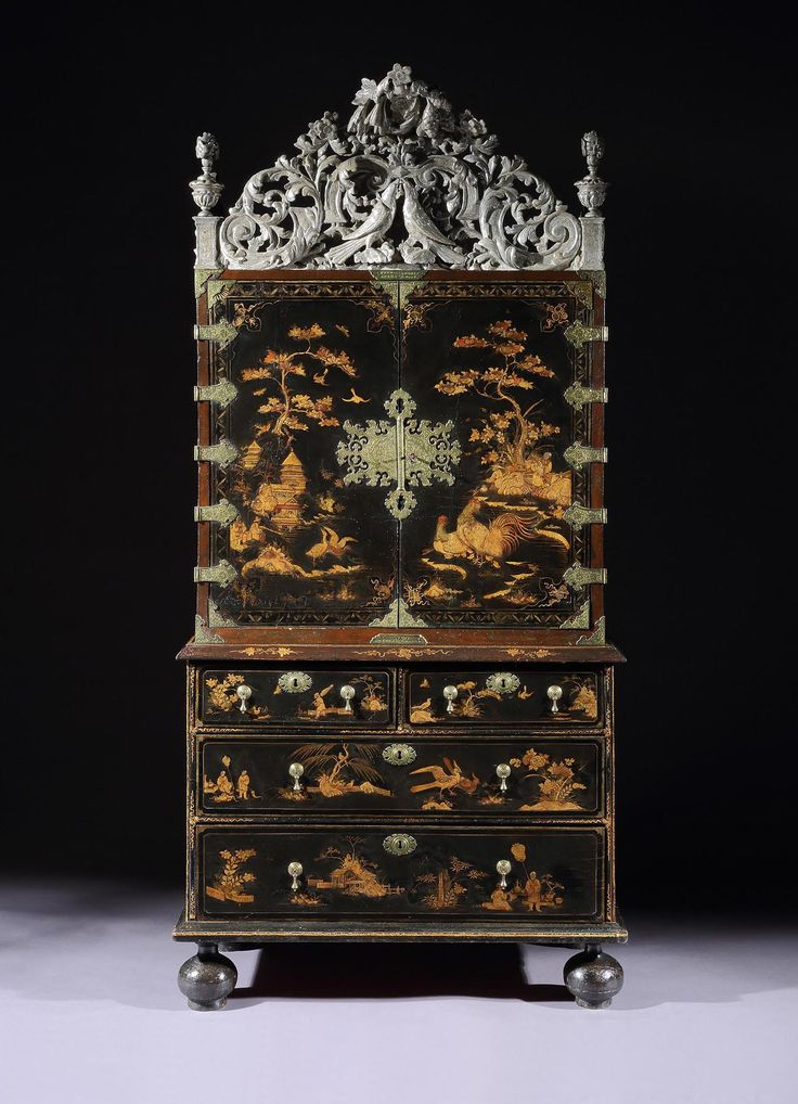 A William And Mary Period Japanned Cabinet On Chest English Circa 1690