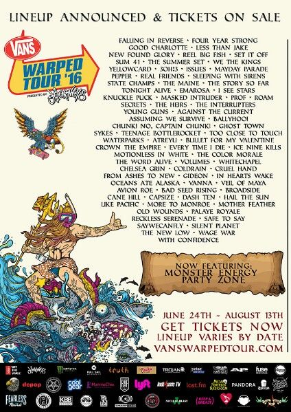 The lineup for the 2016 Vans Warped Tour is now out and this year will feature over 70 bands on seven stages when the tour kicks off on June 24th in Dallas and concludes on August 13th in Portland. Tickets are available for all shows and complete tour details, lineup, tickets, Warped 101 and more can be found on vanswarpedtour.com #vanswarpedtour #warped #warpedtour @3oh3 @firofficial @fouryearstrong @goodcharlotteband @issuesofficial @lessthanjake @maydayparadeband @newfoundglory…