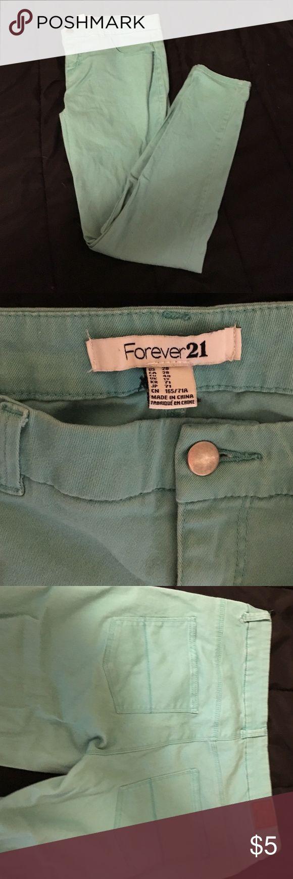 Selling this Forever 21 Teal Skinny Jeans on Poshmark! My username is: shopkelsandnina. #shopmycloset #poshmark #fashion #shopping #style #forsale #Forever 21 #Denim