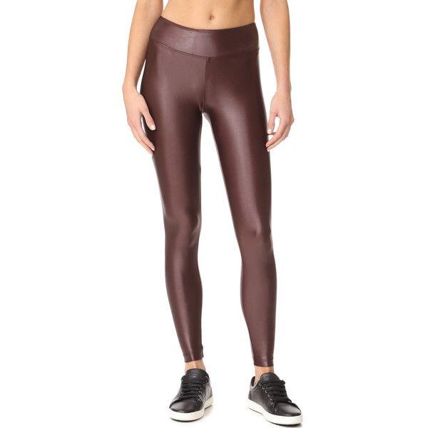 KORAL ACTIVEWEAR Lustrous Leggings (118 AUD) ❤ liked on Polyvore featuring pants, leggings, bordeaux, elastic waistband pants, jersey pants, lycra leggings, lycra pants and legging pants