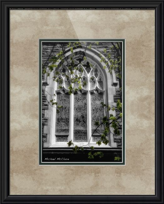"""Church Window"" by Michael McClure, Burlington // The image was originally shot in colour but with a black and white treatment in mind. The spring leaves have been carefully tinted to bring back some of the green and create a duo-toned look.You are welcome to pick and choose your own print size, frame, matte, and glass. And... // Imagekind.com -- Buy stunning fine art prints, framed prints and canvas prints directly from independent working artists and photographers."