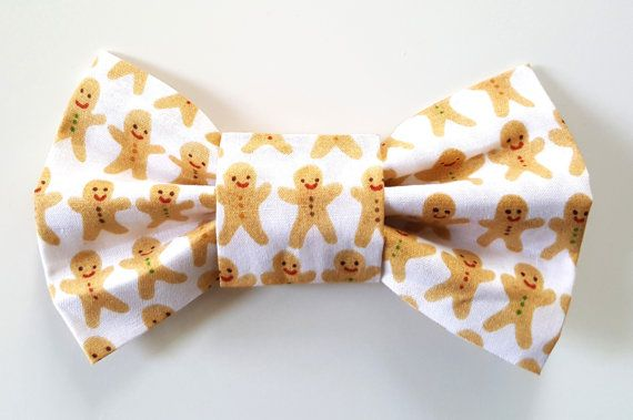 Dog Bowtie  Christmas Gingerbread Man Fabric  Slide on Dog
