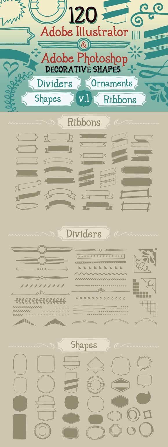 120 Handwritten Decorative Shapes 01 from creativemarket.com. Free til 9/29/13 only!