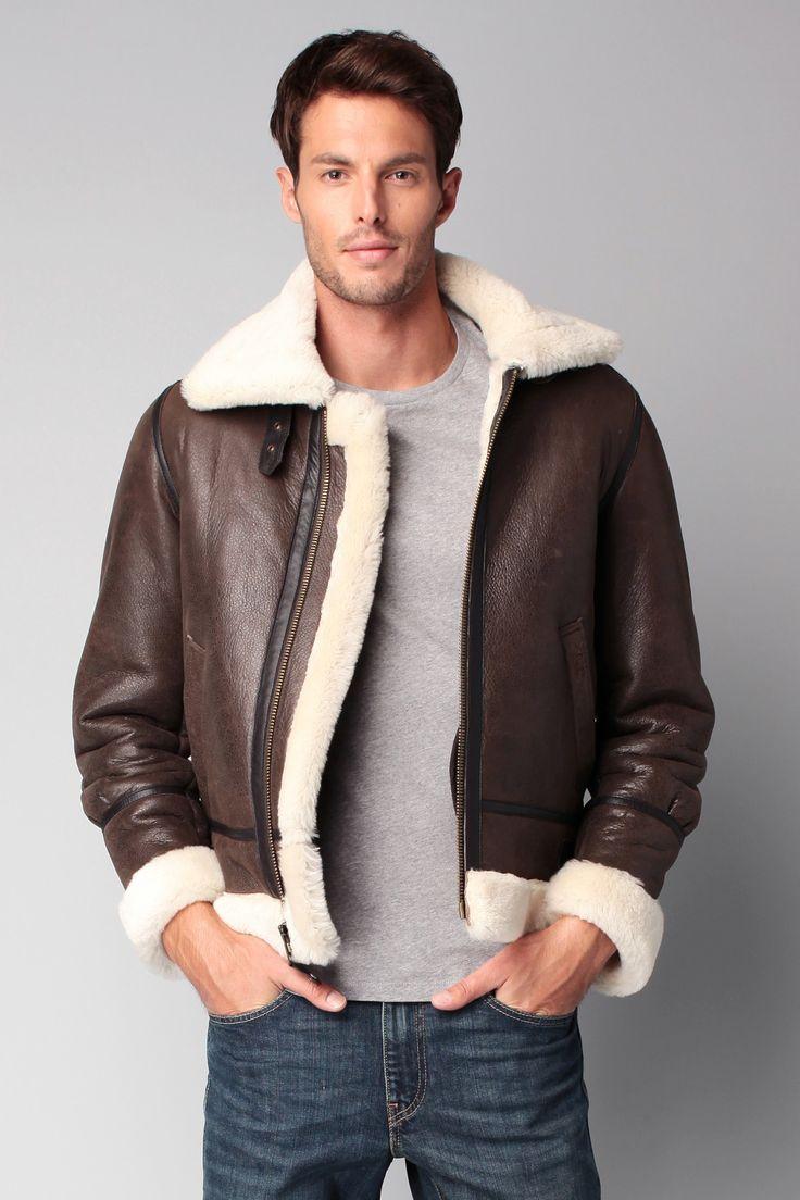 SCHOTT | Blouson en cuir marron - modèle Loïc - Fourrure Blanche - SCHOTT 700.00€ | Le meilleur de la mode Homme et Femme. Sélection shopping
