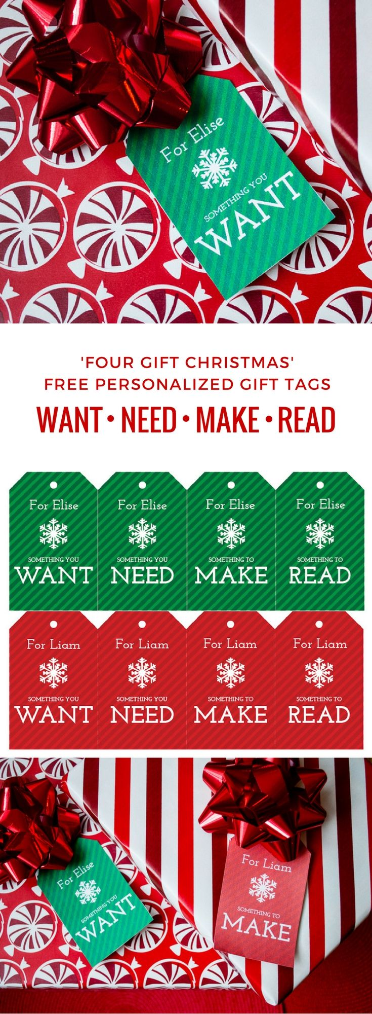 Free printable DIY gift tags for a Four Gift Christmas. Each child gets four meaningful presents: Something You Want, Something You Need, Something to Make, Something to Read. Just download, type to personalize, and print to simplify Christmas.