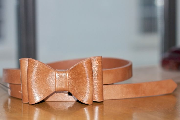 warehouse brown leather bow belt fashion