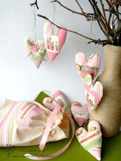 """Подвески ручной работы. Ярмарка Мастеров - ручная работа Набор валентинок """"в розовых тонах"""". Handmade."""