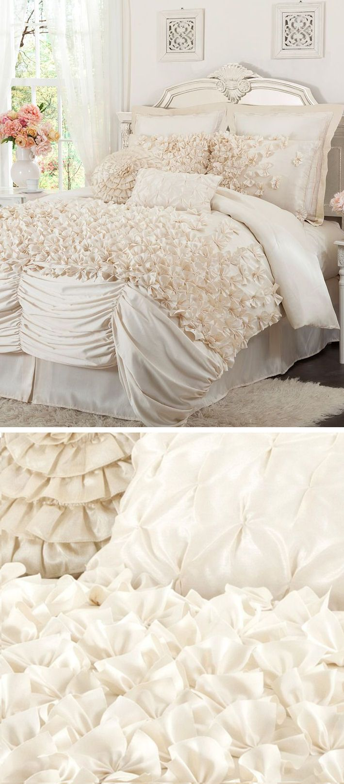 Lovely Ivory Layered Ruffle Comforter Set ♥ L.O.V.E.
