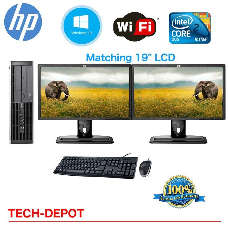 HP Desktop PC Computer Core 2 Duo 4GB HD DUAL 19 LCD Monitor Windows 10