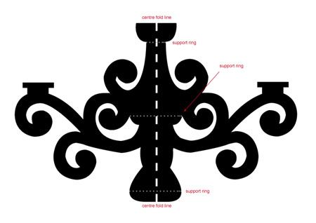 Cardboard Chandelier Template | The chandelier body comprises 2 main sections, and each section is ...